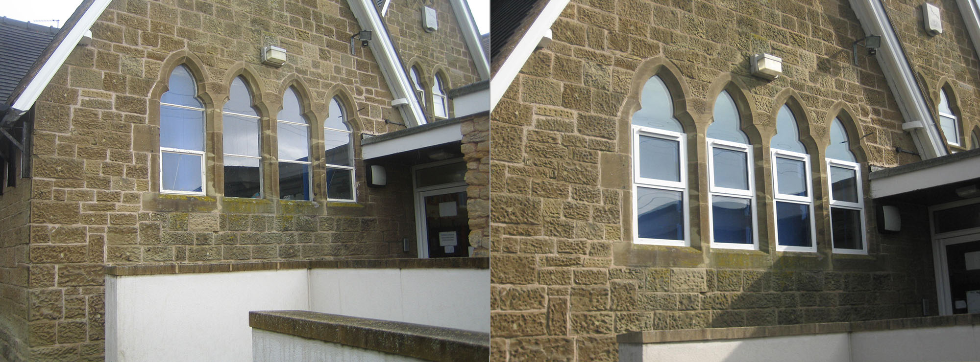 <strong>Primary School in Worcestershire.</strong>Replacement of steel windows in stone surrounds with white commercial aluminium inserts.
