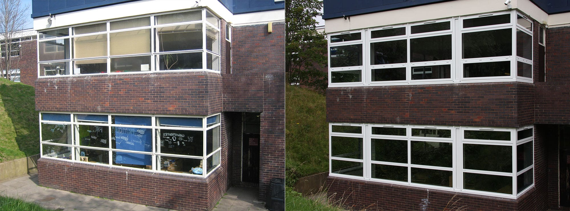 <strong>Comprehensive School in West Midlands</strong>Replacement steel windows with white commercial aluminium to all elevations.