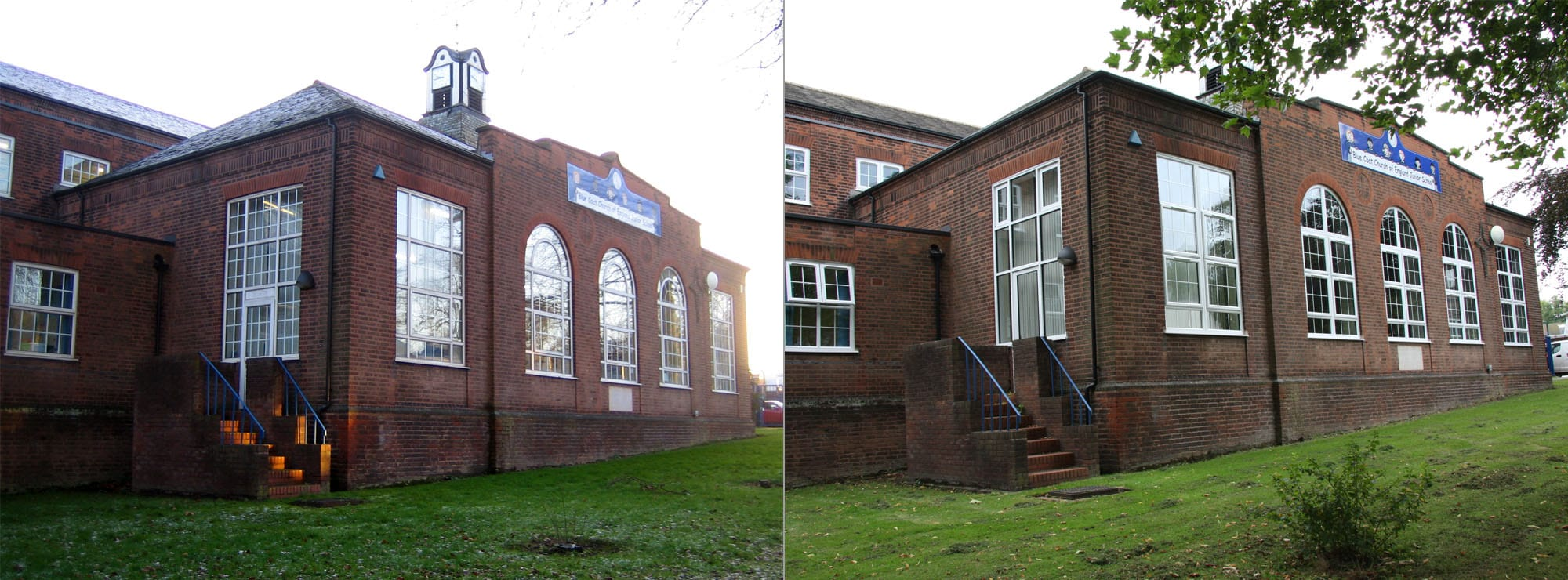 <strong>Junior School in West Midlands</strong>Replacement UPVC windows and aluminium doors to front elevation.
