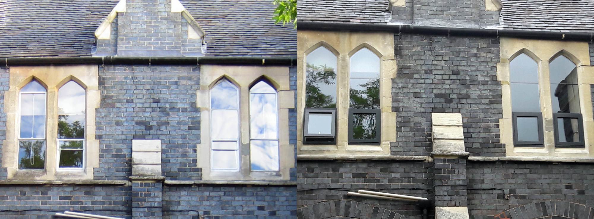 <strong>Period property in Shropshire.</strong>Replacement of steel windows with aluminium and single stone glazed lights with double glazed units.