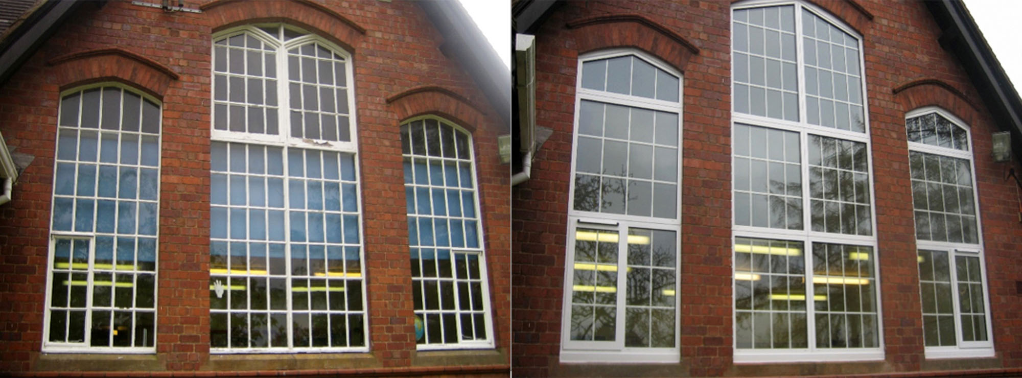 <strong>Church of England Primary School in Worcestershire.</strong>Replacement steel windows and timber doors with white commercial aluminium.