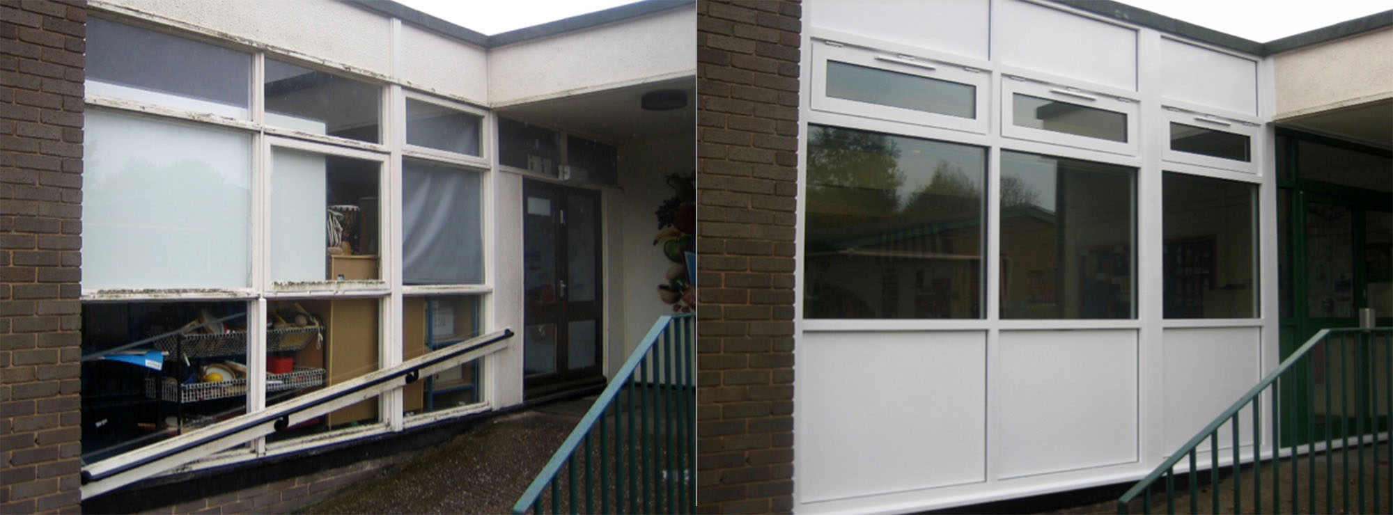 <strong>Infants & Junior School in West Midlands.</strong>Replacement timber windows with white commercial aluminium.