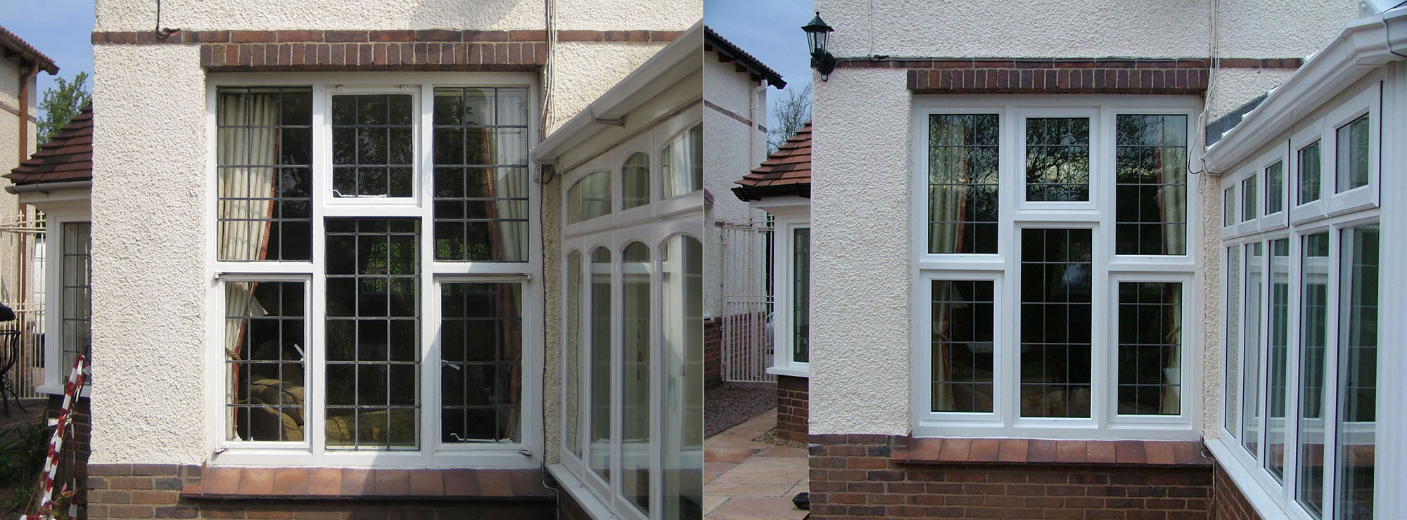 <strong>Period property in Shropshire.</strong>Replacement of steel casement windows with white commercial aluminium inserts into existing timber sub frames.