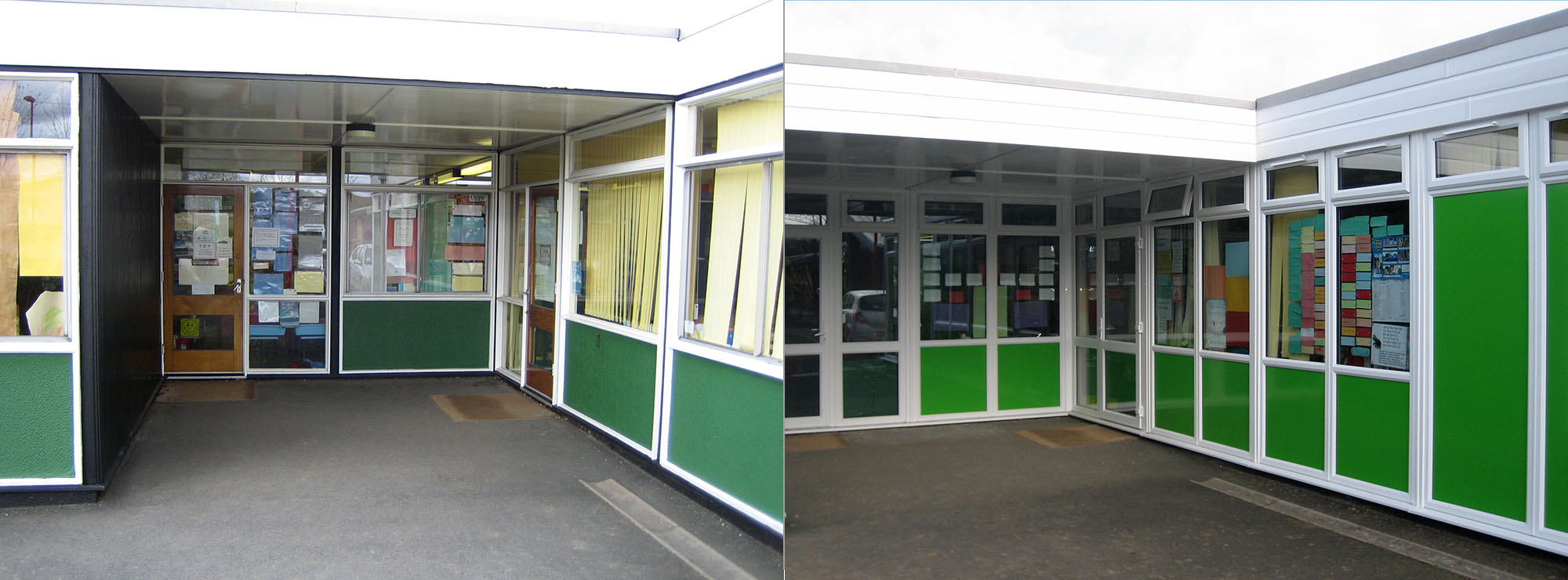 <strong>Primary School in West Midlands.</strong>Replacement of storey height timber windows and doors with white UPVC.