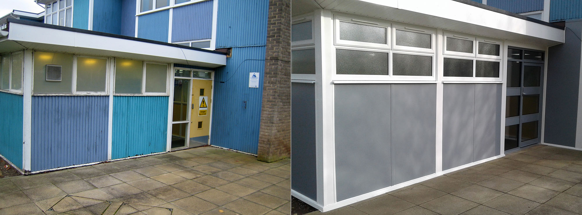 <strong>Primary School in West Midlands.</strong>Replacement existing timber cladding, windows and doors with commercial grey aluminium doors, aluminium faced insulated grey panels and white UPVC windows.