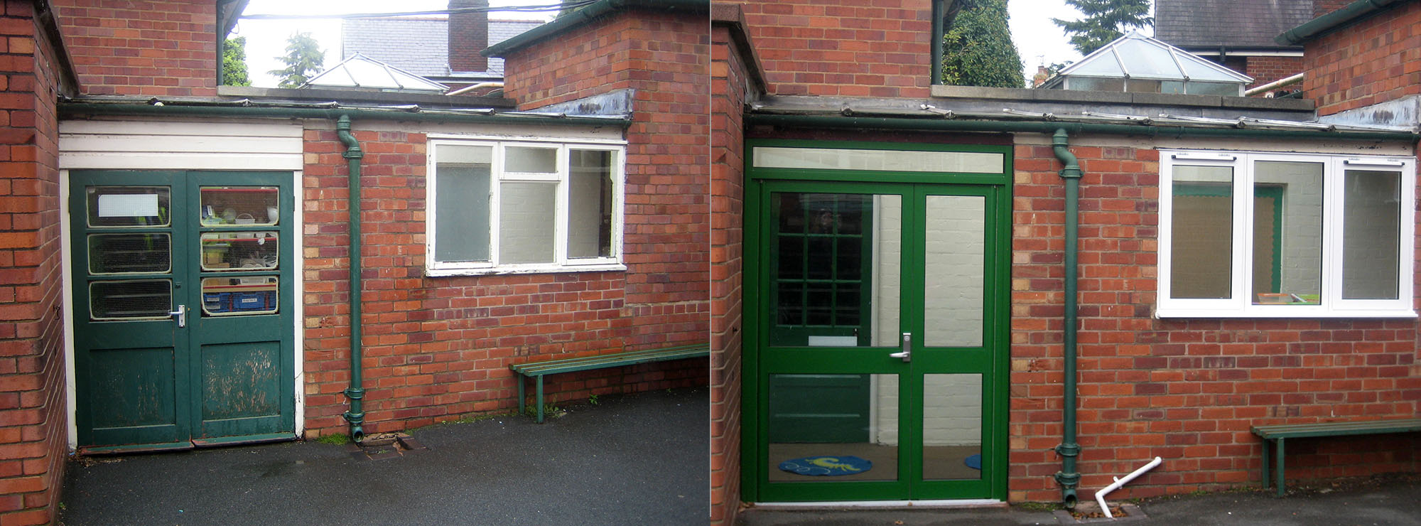 <strong>Infants & Junior School in West Midlands.</strong>Replacement timber door with green commercial aluminium.